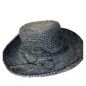 Accessories - Scala black straw packable wide brim sun hat one